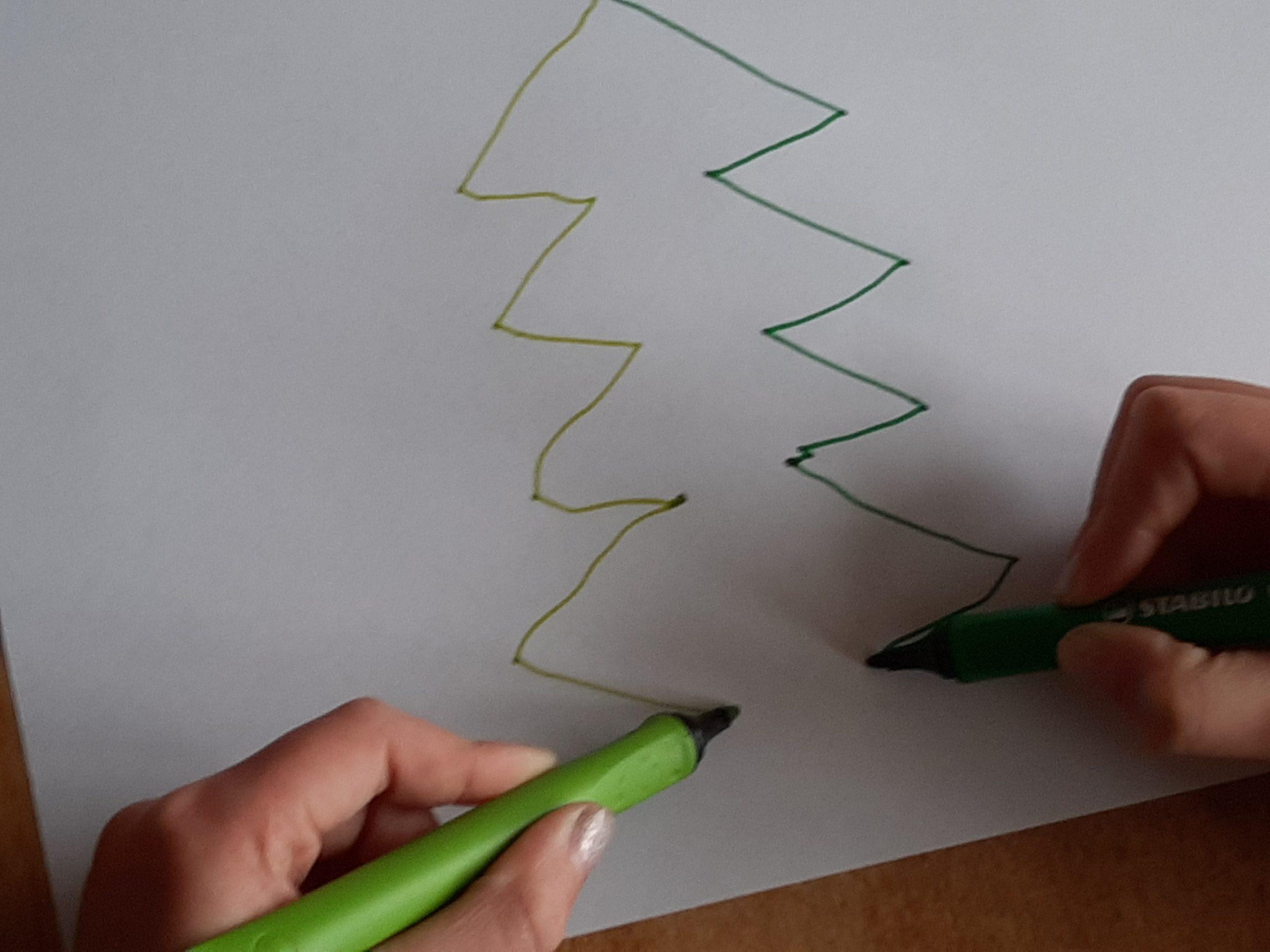 beweeg je mee kalender, tweehandig tekenen kerstboom